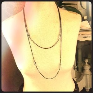Jewelry - Black/Clear Long Necklace with Beads